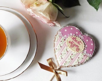 Personalized  Heart Cookie Pop - Mothers Day gift - Birthday Gift - Thank you Gift - Get well gift