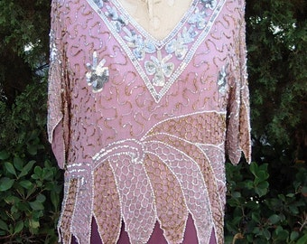 Reduced Vintage Beaded Lilac Chiffon Top Sz. Med. Optional Violet Crepe Palazzo Pants Sz.10  Item #623  Eveving Separates