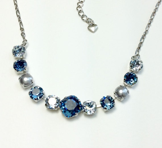 Swarovski Crystal Necklace 12MM/8.5mm - Denim Blue, Blue Shade, Dove Grey Pearls -  Sparkle & Shimmer -  FREE SHIPPING