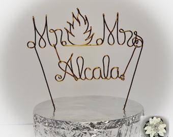 MR&MRS Last Name 'Flame' Wire Name Cake Topper / Custom Name Cake Topper