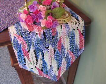 """54"""" 72"""" Spring Table Runner Reversible Table Runner Pink Purple Lupine Table Runner Easter Table Runner Purple Pink and Blue Table Decor"""