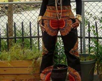 Dashiki Cigarette Pants, Dashiki Wide Legged Pants, African Print Pants, Ankara Pants, Brunch Pants