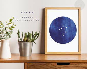 LIBRA constellation watercolor print, astrology print art, zodiac sign wall art, zodiac sign poster, LIBRA wall art printable
