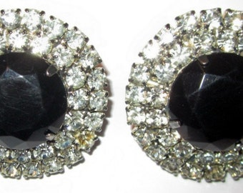 Large Rounded Clip-On Earrings with Black Center Stone