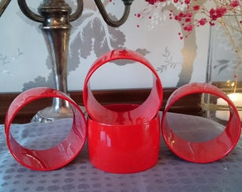 Four Bright Red Napkin Rings