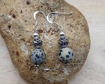 Dalmatian jasper earrings. Sterling silver. Crystal Reiki jewelry uk. Bali silver beads