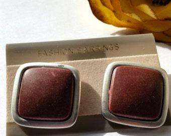 Vintage Framed Brown Post Earrings, Mod Square Posts