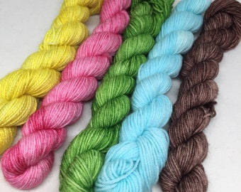 SALE Price Hand dyed mini skein perfect for toes and heels in bright green, indie dyed yarn, bright green mini skein of yarn