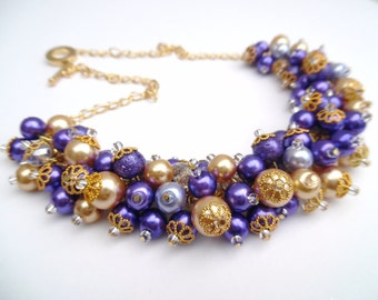 Purple and Gold Pearl Necklace, Purple Bridesmaid Jewelry, Cluster Necklace, Chunky Necklace, Bridesmaid Gift, Purple Pearl Wedding Jewelry
