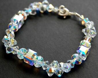 Crystal Bridal Bracelet, Clear Aurora Borealis Swarovski Crystal Wedding Bracelet, AB Clear Crystal Cube, Wedding Jewelry