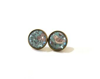 Blue Bird Earrings, Bird Earring, Bird Earring Stud, Bird Earings, Stud Earring, Stud Earings, Post Earring, Clip On Earring, Clip Earings