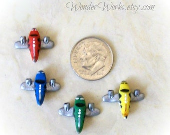 One Miniature Airplane, 1 Inch Scale Toy, Miniature  Dollhouse, Hand Sculpted, Collectible Airplane, Boy Toy