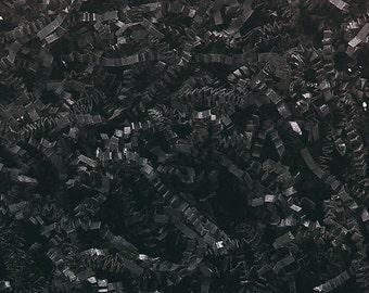 Black Paper Shred, Primitive Bowl Filler Paper, Halloween Decor