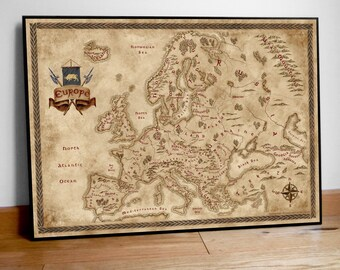 Fantasy styled map of Europe, Fantasy gift map, Geek gift, Fantasy styled map, Old Map of Europe, Vintage Europe Map, Europe Poster