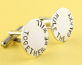 Together We Will Rule The Galaxy Cufflinks - Custom Round Cuff Links - Silver Cufflinks - Father's Day Gift- Anniversary Gift - Gift for Him