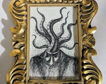 Tentacle Head- Original ink drawing in gold frame- Lovecraftian weird art