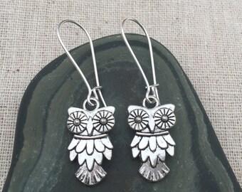 Silver Owl Earrings - Owl Jewelry - Simple Everyday Silver Earrings