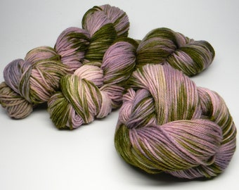 Stealing the Neighbor's Lilacs - Salsa Monkey worsted weight kettle dyed 100% Merino pink purple green tonal blends
