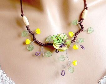 Necklace Spring Flower cold porcelain