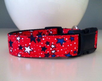 Dog Collar- Red with Blue and White Stars