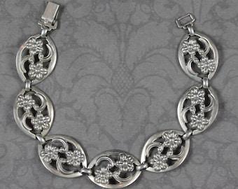 Vintage WRE Designer Sterling Silver Floral Linked Bracelet