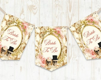 Skull Bride to be Bunting, Skull Banner, Gothic Bridal Shower, Skull Bride, Bridal Shower Decoration, Bride to be, Pink Skulls
