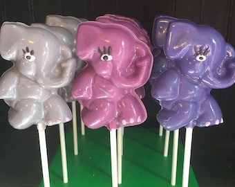 12 Elephant Chocolate Lollipops Circus Zoo Baby Shower Party Favors