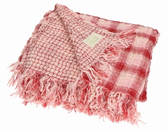Plaid linen throw | Linen blanket with fringe | Double sided | Bed cover | Bed spread | Picnic blanket | Several sizes available