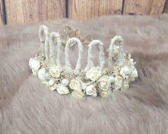 Flower halo/ tieback / crown photography prop. Newborn + ready to ship, Ditzy Boo boutique