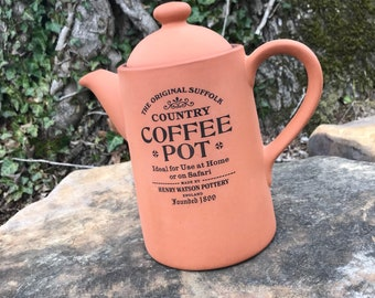 The Original Suffolk Coffee Pot   Henry Watson Pottery England   Terra-cotta   Vintage Earthenware