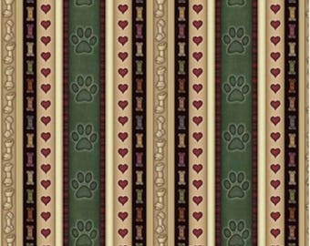 It's a Ruff Life Puppy Dog Paw Heart Bones Stripes 100% cotton fabric (QT73)