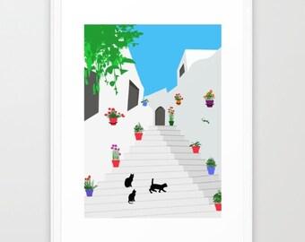 Ibiza poster-Andalusian print-Spain print-Black cat poster-Minimalist wall art-Mediterranean print-Decorative Art Print-Large Glicee Print