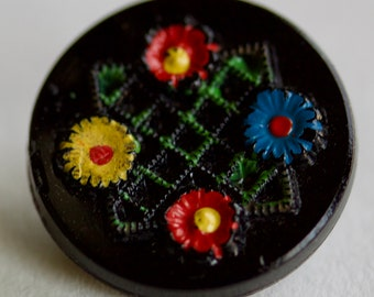 Flowers Painted on Black Glass Button