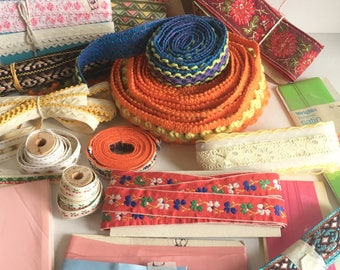 Lot of Vintage Fabric Trims Remnants Supplies Sewing Crafts Unique Colorful