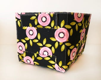 Pink and Green Floral Fabric Basket. Small Fold-Up Fabric Basket. Multi-purpose Basket. Storage Bin. Small Storage Caddy