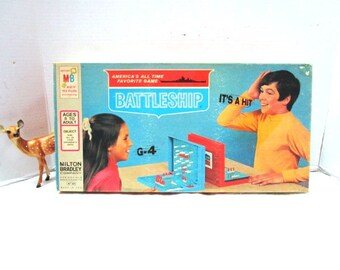 Vintage Battleship Game, Rare 1967 First Edition, Milton Bradley, Complete, Navy Ship Game Pieces, Assemblage Supply, Mixed Media, Strategy