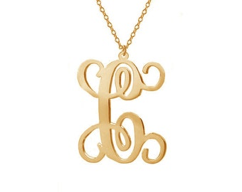 "Gold One Letter Necklace,Single Initial Necklace,Personalized Initial Necklace,1"" inch One Letter Necklace-%100 Handmade"