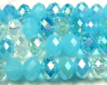 8x5mm Designer Mix Blue Oasis Glass Beads - 8 Inch Strand - Round, Rondelle, Faceted, Light Blue, Baby Blue, Clear - BE18
