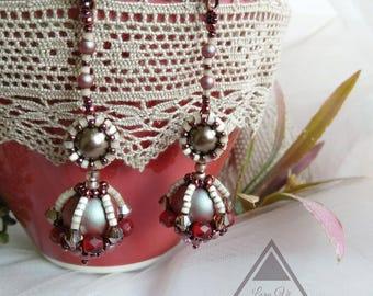 Beadweaving stud earrings long beaded earrings Swarovski pearl beadwoven holiday earrings beading  party earrings fashion jewelry ear studs