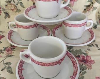 Set of 4 Senango China Edgemere Pattern Cups & Saucers