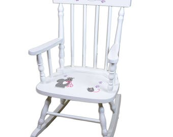 Personalized Kitty Cat White Childrens Rocking Chair Kittens Felines Theme Décor Pink And Gray Paw Print spin-whi-322