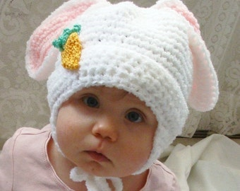 Fluffy Bunny Hat PDF Crochet Pattern for Infants to Adults 278