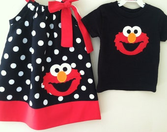 Brother and Sister Elmo pillowcase dress/Black shirt