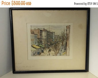 On Sale 1867 New York Broadway Painted Sketch