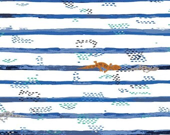 "NEW Mediterraeo ""Gecko Trails"" by Katarina Roccella -Art Gallery Fabric-Cotton,Blue"