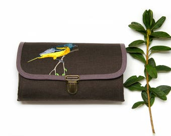 Wallet Clutch Medium, Women Fabric Organizer Oriole Bird Unique Gift Idea for Mom Brown Case iPhone Plus Roomy Handmade -  READY TO SHIP
