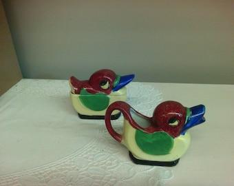 Vintage Bird Sugar & Creamer Set.