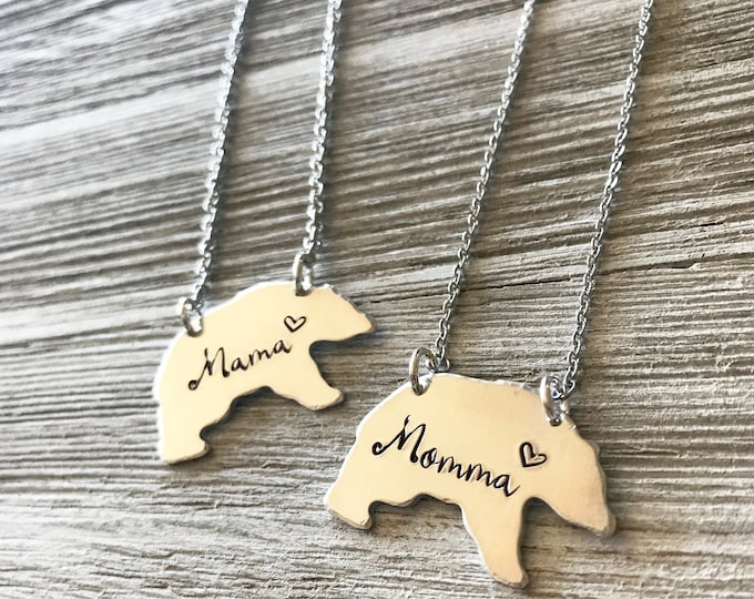 Mom Necklace- Mama Bear- Momma Bear -Gift for Mom- Mothers Day