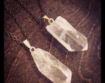 Pointed Crystal Quartz Necklace - Gunmetal Chain