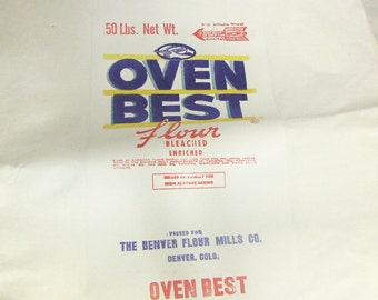 VINTAGE All White Flour Sacks, 50 lbs. Net Wt., 'Oven Best Flour, Packed for The Denver Flour Mills', Feed Sack, Craft Use